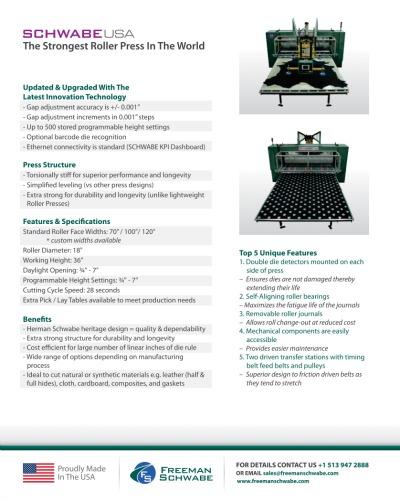 SCHWABE Roller Press Information SHeet Print Version back
