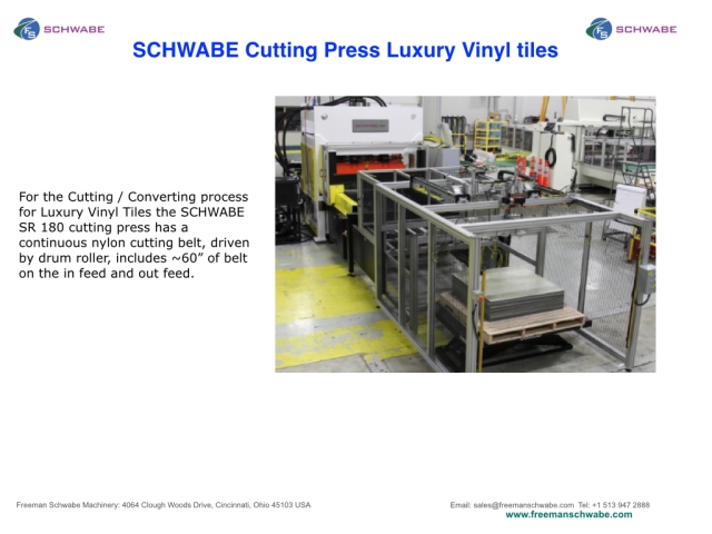 SCHWABE Straight Ram Beam Press SR 180 cutting luxury vinyl tiles