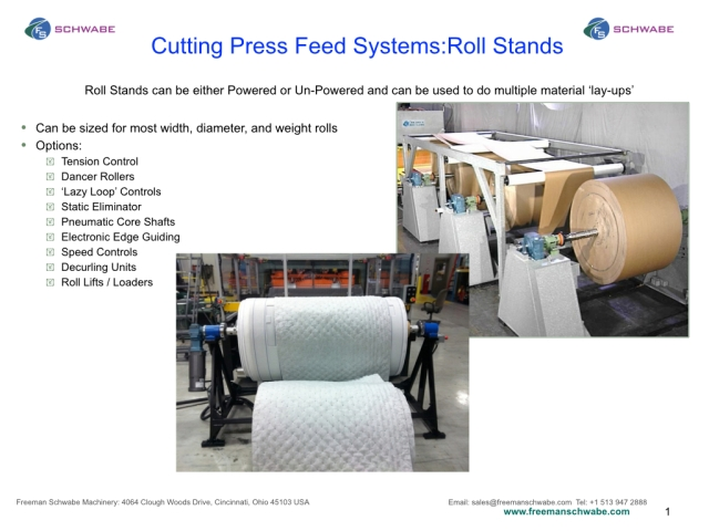 SCHWABE Material Feed Systems  Roll stands