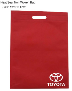 Visual Example purposes only showing Non Woven heat seal bag