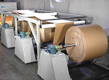 A variety of unwind stands are available for feeding virtually any type of material in roll form Pictured left – a roll feed system feeding (3) 6,000 lbs. rolls of paper
