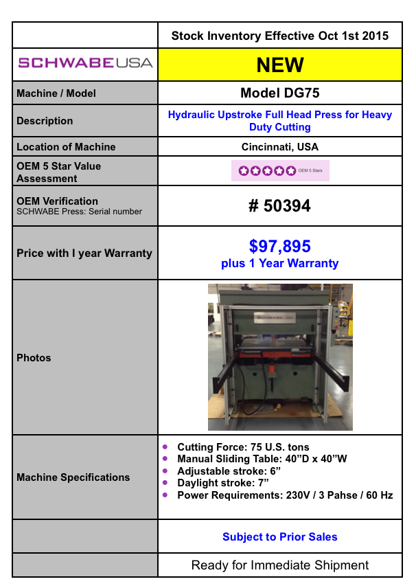 Schwabe Model DG In Stock
