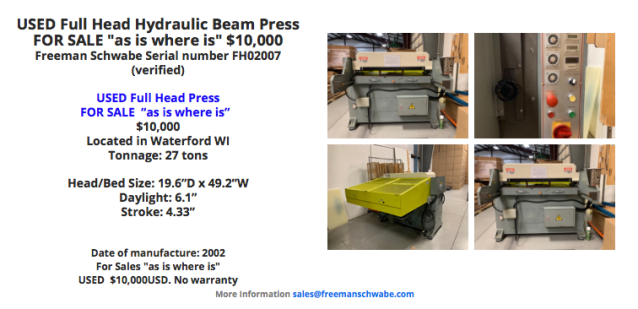 In-Stock Presses For Sale – NEW and USED | SCHWABE Cutting