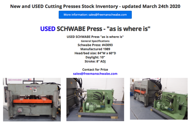 USED SCHWABE Press #43093
